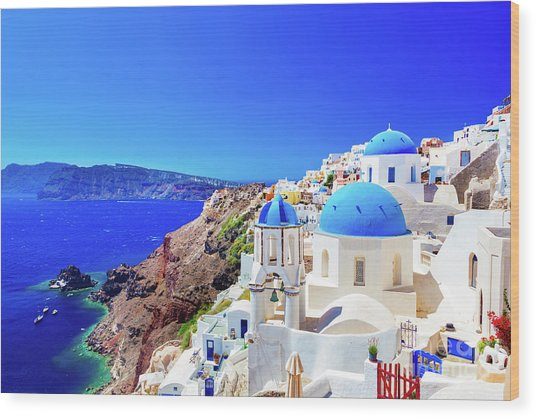 Oia Town On Santorini Island, Greece. Caldera On Aegean Sea. Wood Print