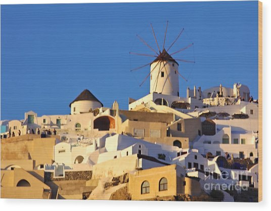Wood Print featuring the photograph Oia Windmill by Jeremy Hayden