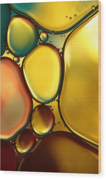 Oil And Water Abstract II Wood Print