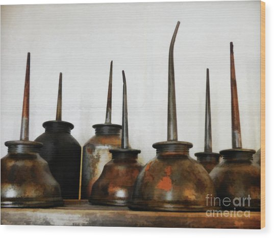 Oil Can, Rusted Wood Print by Laura Atkinson