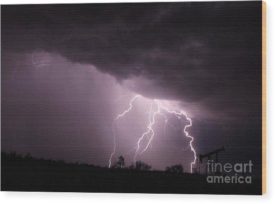 Oil Field Lightning Wood Print