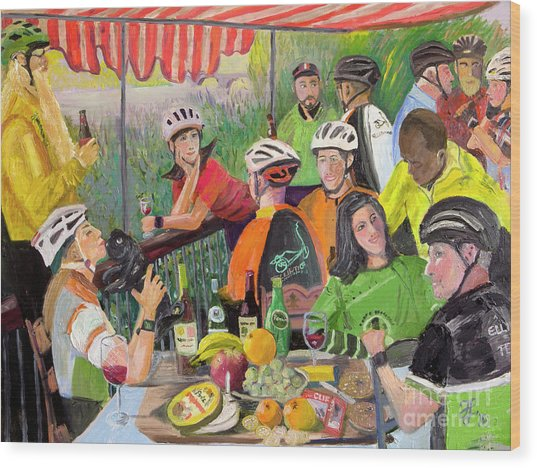 Oil- Luncheon Of The Cycling Party Wood Print