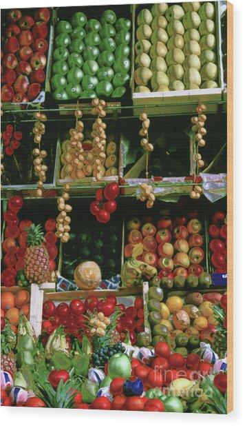 Oil Painted Faux Paris Fruit Display Wood Print
