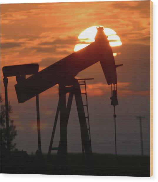 Oil Pump Jack 7 Wood Print by Jack Dagley