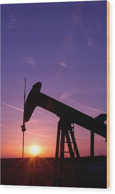 Oil Rig At Sunset Wood Print