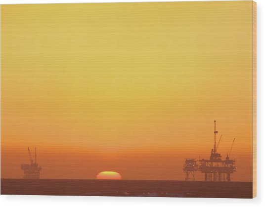 Oil Rig Wood Print by Eric Lo