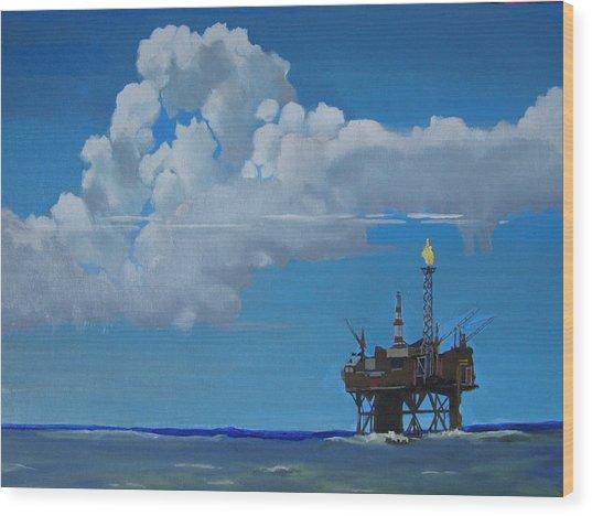 Oil Rig Near The Shetland Islands Wood Print