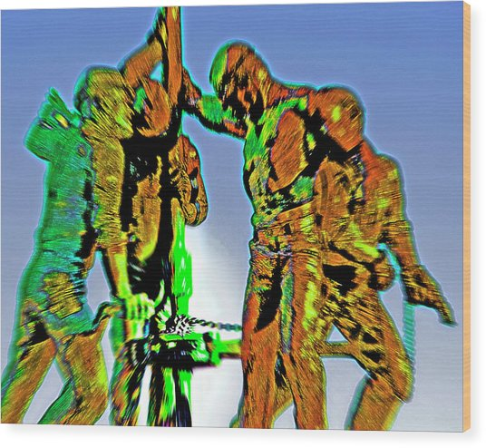 Oil Rig Workers 4 Wood Print by Steve Ohlsen
