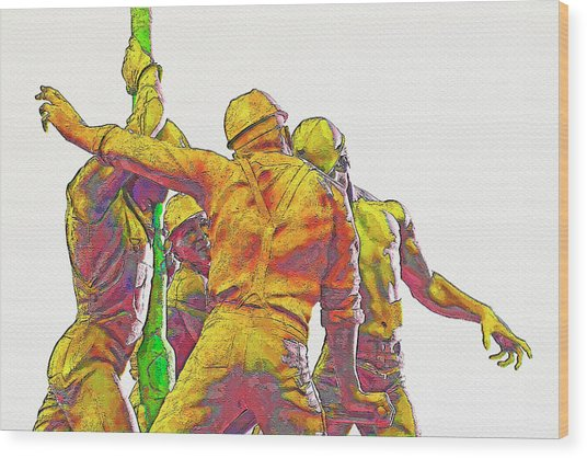 Oil Rig Workers 5 Wood Print by Steve Ohlsen