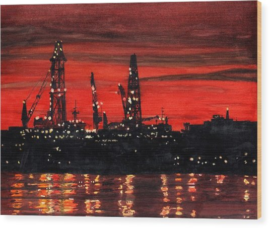 Oil Rigs Night Construction Portland Harbor Wood Print