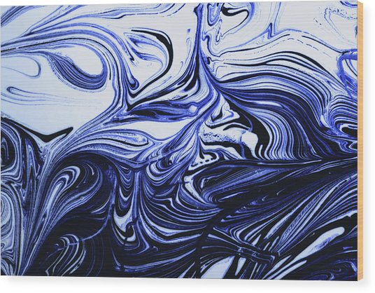 Oil Swirl Blue Droplets Abstract I Wood Print