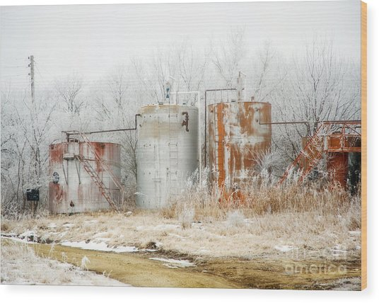 Oil Tank Farm Wood Print by Fred Lassmann