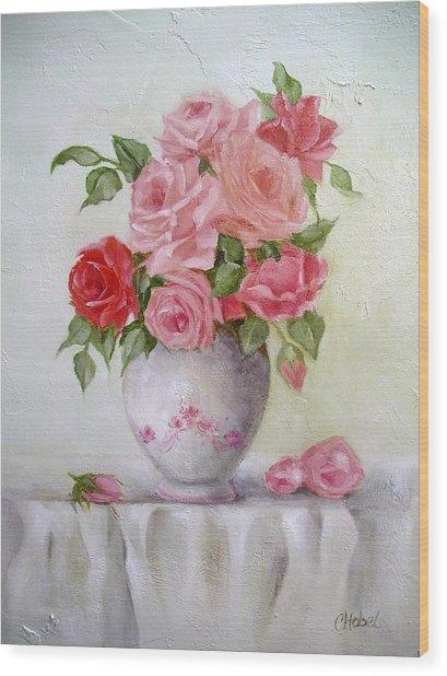 Oil Vase Rose Wood Print