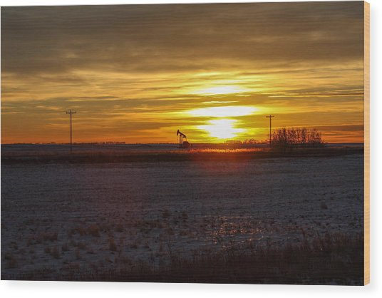 Oil Well Sunset Wood Print