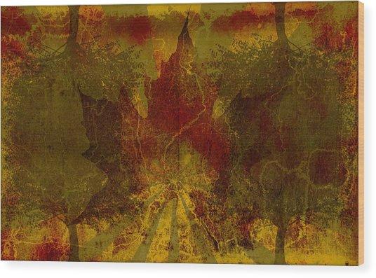 Ok Fall Wood Print by Shawn Ross