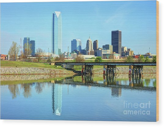 Oklahoma City Skyline Wood Print by Denis Tangney Jr