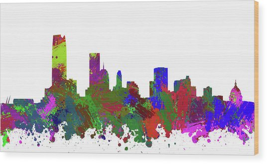 Oklahoma City Skyline Painted Wood Print