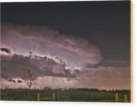 Oklahoma Sky Of Fire Wood Print
