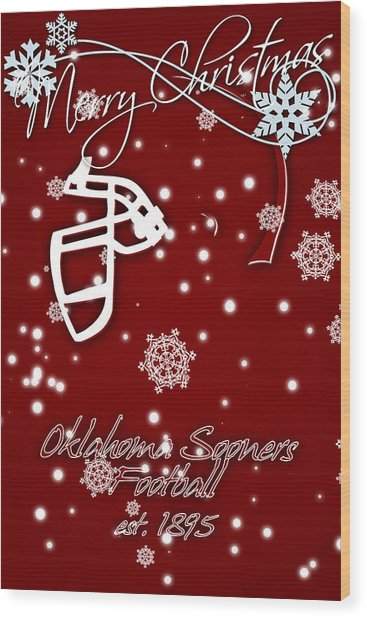 Oklahoma Sooners Christmas Card Wood Print