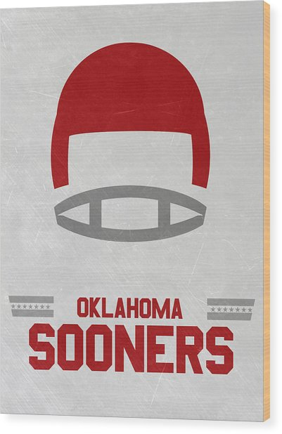 Oklahoma Sooners Vintage Football Art Wood Print