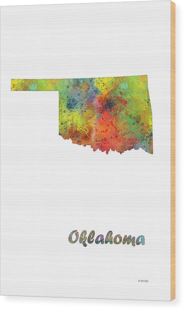 Oklahoma State Map Wood Print