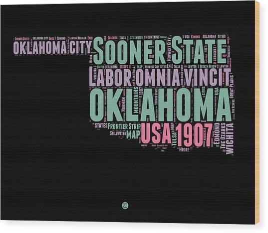 Oklahoma Word Cloud 1 Wood Print