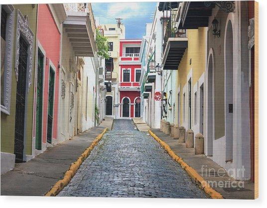 Old San Juan Alley Wood Print by John Rizzuto