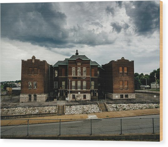 Old Abandoned School And Stormy Skies Wood Print by Dylan Murphy