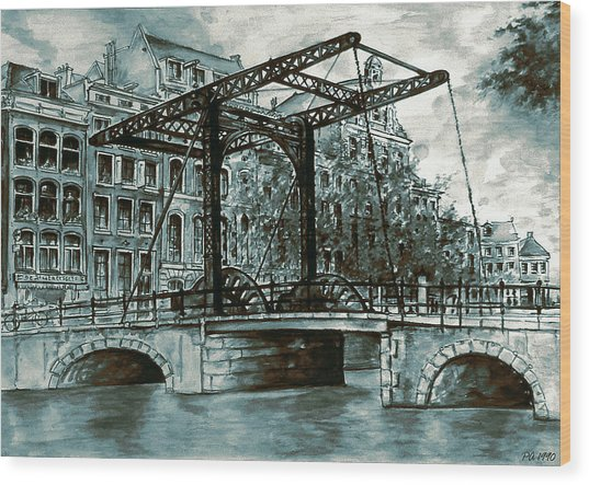 Old Amsterdam Bridge In Dutch Blue Water Colors Wood Print