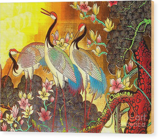 Old Ancient Chinese Screen Painting - Cranes Wood Print
