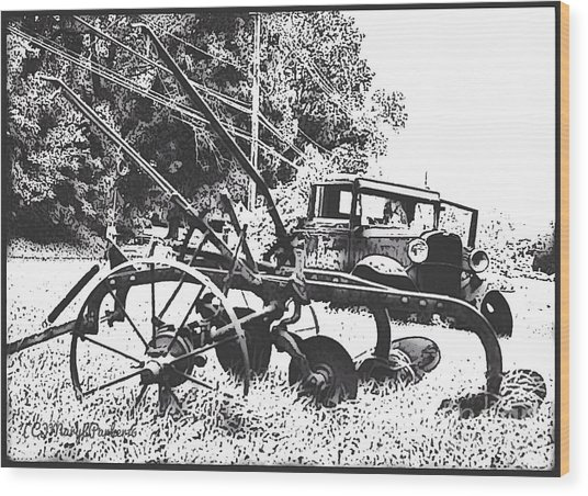 Old And Rusty In Black White Wood Print