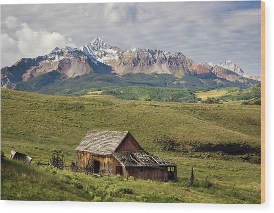 Old Barn And Wilson Peak Horizontal Wood Print