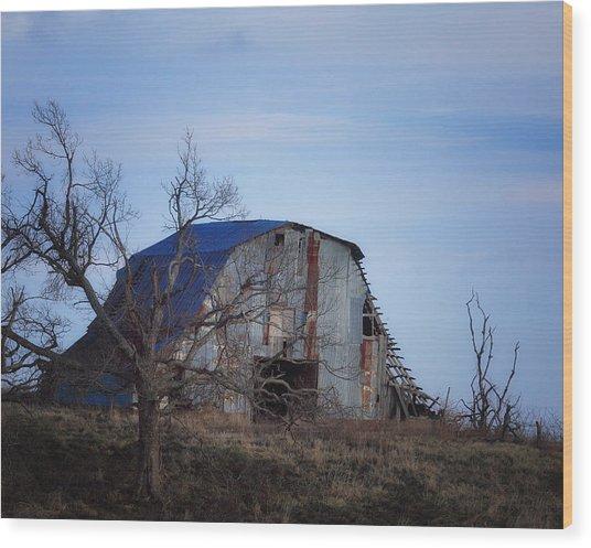Old Barn At Hilltop Arkansas Wood Print