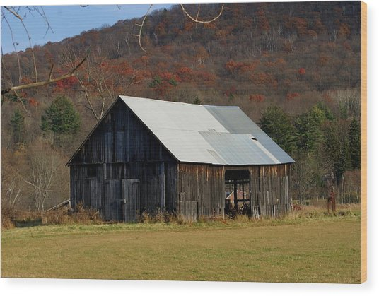 Old Barn In Fall Wood Print by Lois Lepisto
