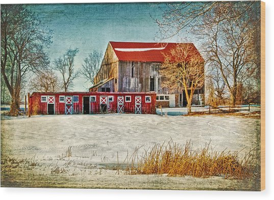 Old Barn On Forrest Road Wood Print