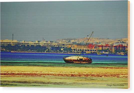 Old Barque Wood Print by Chaza Abou El Khair