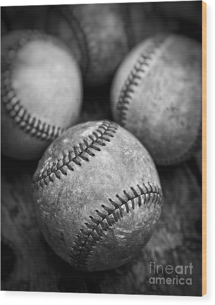 Wood Print featuring the photograph Old Baseballs In Black And White by Edward Fielding