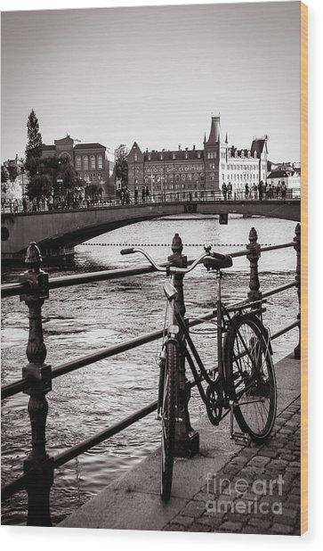 Old Bicycle In Central Stockholm Wood Print