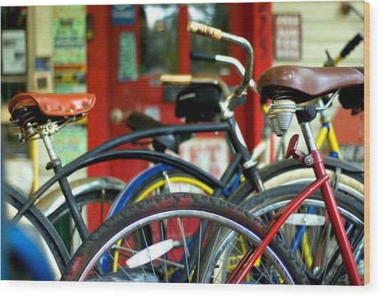 Old Bikes Wood Print by John Gusky