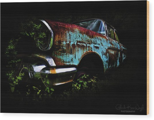 Old Blue Chevy Wood Print
