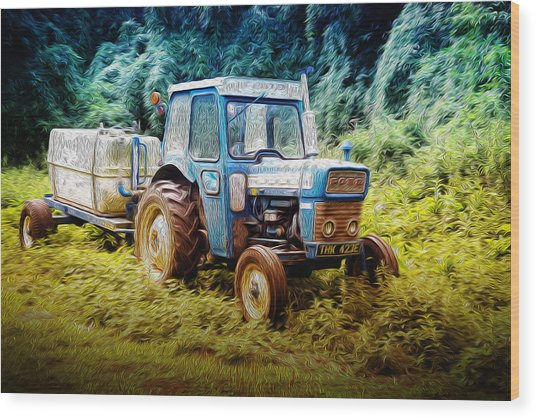 Old Blue Ford Tractor Wood Print