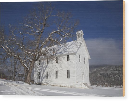 Old Boxley Community Building And Church In Winter Wood Print