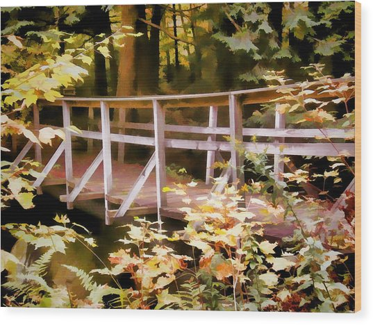 Old Bridge In The Woods In Color Wood Print