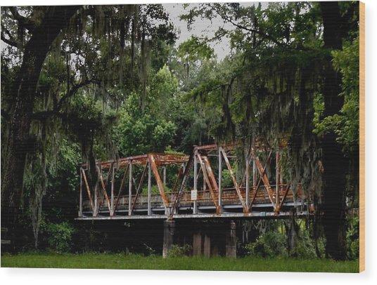 Old Bridge To Town Wood Print