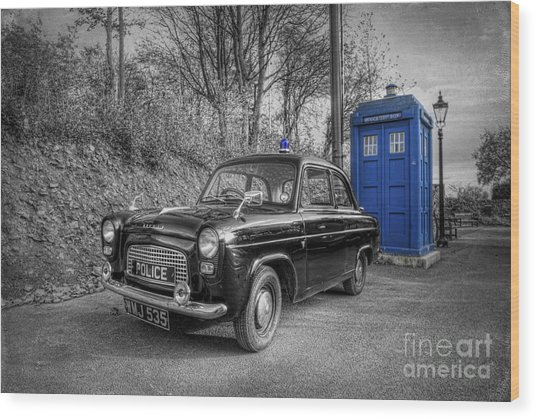 Old British Police Car And Tardis Wood Print