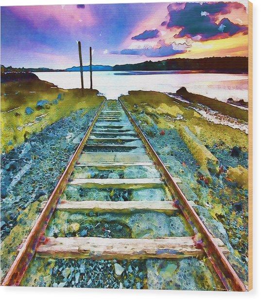 Old Broken Railway Track Watercolor Wood Print