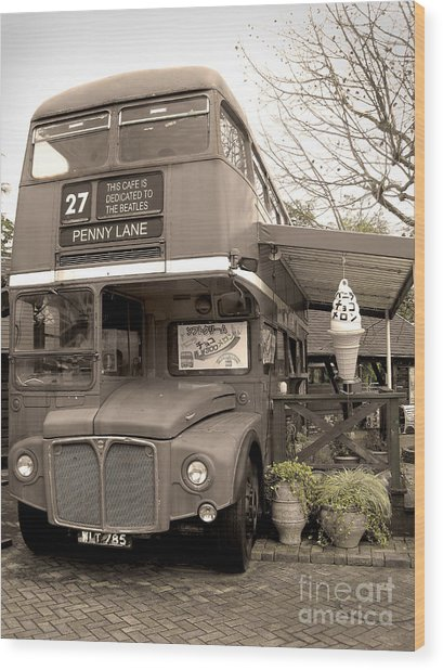 Old Bus Cafe Wood Print