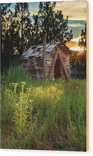 Old Cabin At Sunset Wood Print