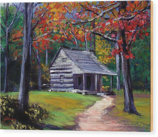 Old Cabin Plein Aire Wood Print