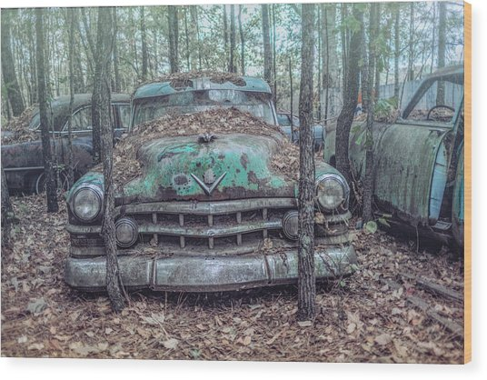 Old Caddy Wood Print